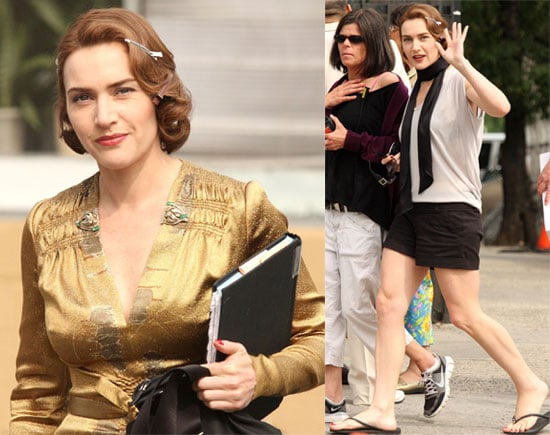 Pictures of Kate Winslet in Costume and Casual on the Mildred Pierce Set