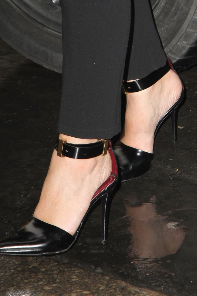 Kim Kardashian's pointy-toe ankle-strap pumps provided that last round of tuxedo polish to her Stephane Rolland Couture show-bound look.