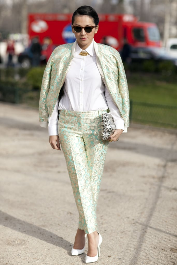 High-shine brocade gave this suiting a more dramatic finish.
