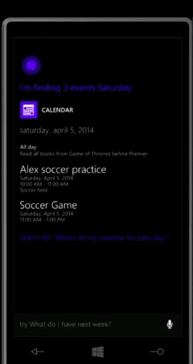 Cortana can read the day's agenda.