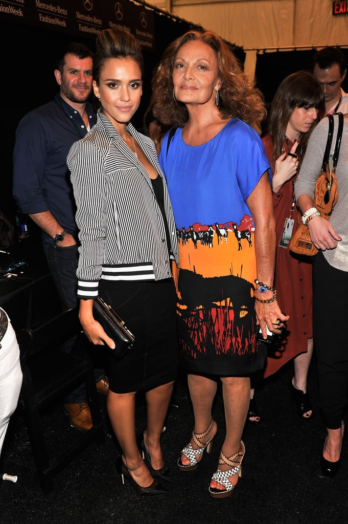 Jessica Alba posed backstage with Diane von Furstenberg before the designer's runway show on Sunday.