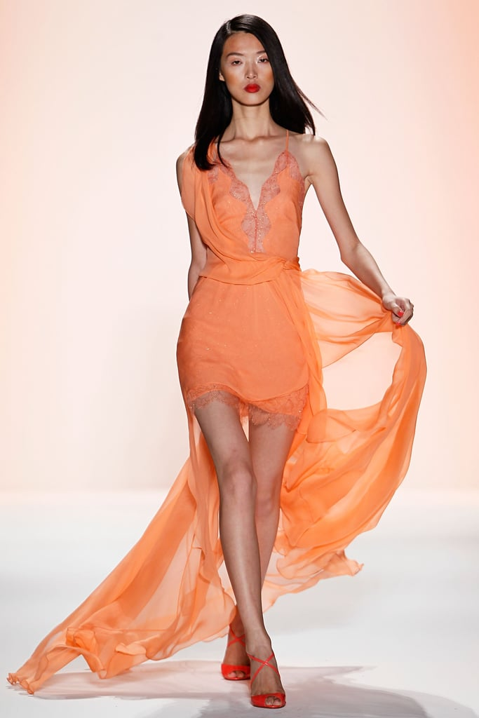 Jenny Packham showcased delicate, colorful confections with high-low hemlines and hip-hugging fits.