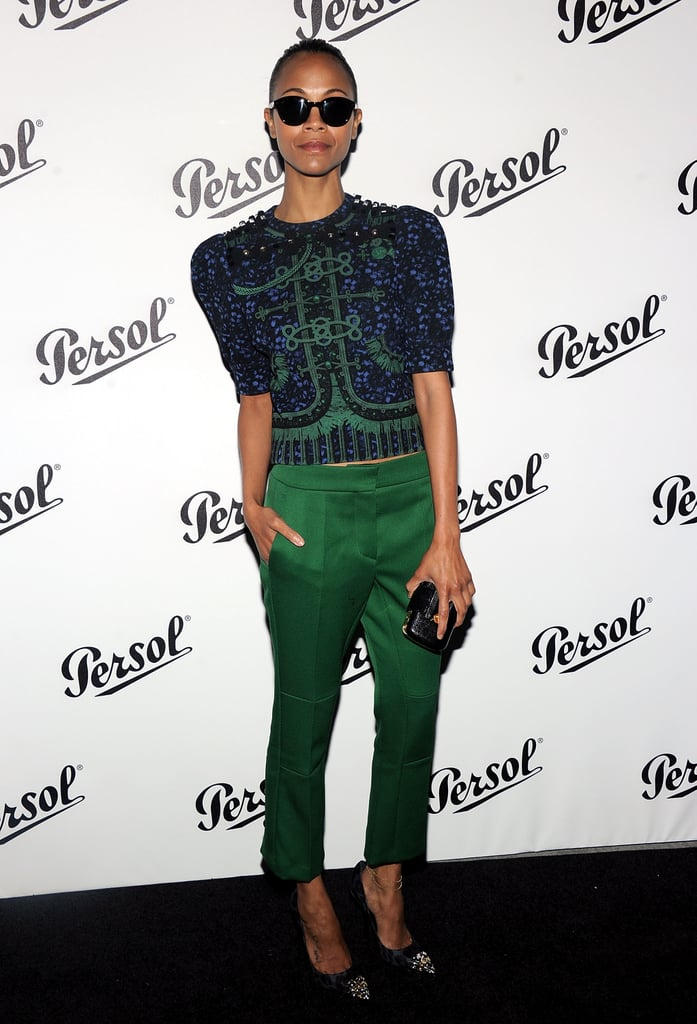 Zoe Saldana wore Louis Vuitton to the Persol Magnificent Obsessions event in NYC.