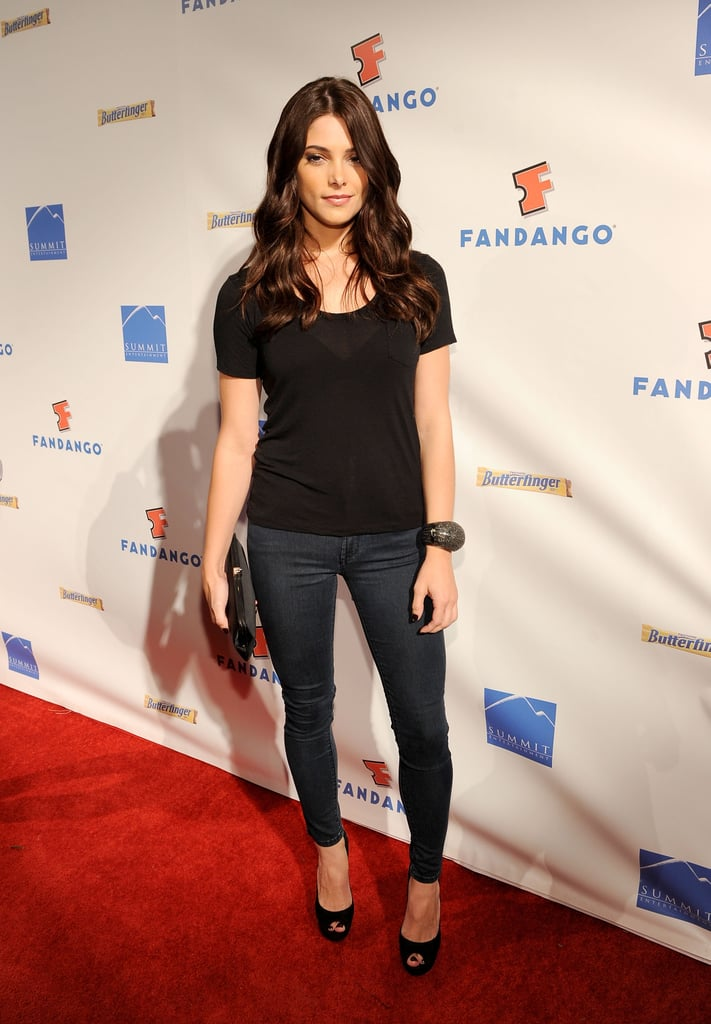 Ashley Greene kept it casual in a black t-shirt and jeans in 2011.