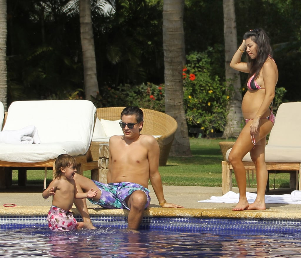 The trio enjoyed an afternoon by the pool.