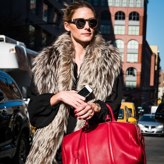 Olivia Palermo Wearing a Faux-Fur Scarf