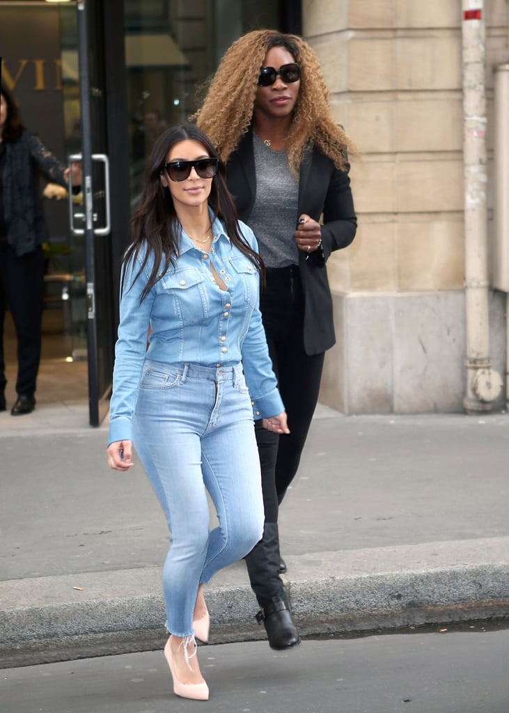 Following reports that she is getting legally married this week, the reality star jetted off to Paris, where she met up with friend Serena Williams on Wednesday.