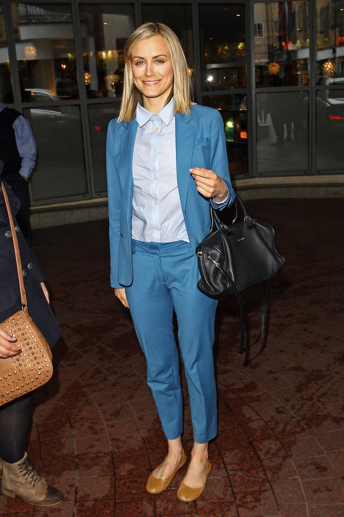 Blue is clearly Taylor's color — the actress rocked a blue suit while out and about in London in 2012.