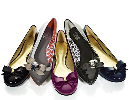 Coach Skyla Flats ($158)  Patent flat with resin bow detail Rubber sole  Coach Trina Flats ($168)   Soft patent  Slight wedge with Coach button cluster detail