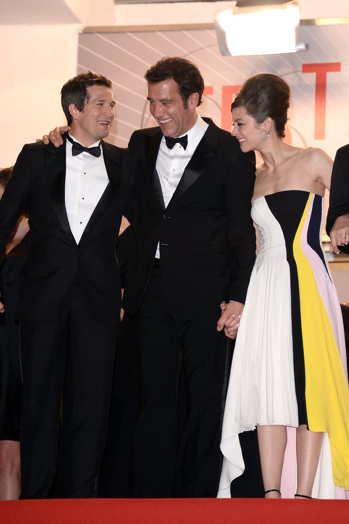 Marion Cotillard was between Clive Owen and Guillaume Canet at the Cannes Film Festival premiere of Blood Ties on Monday.