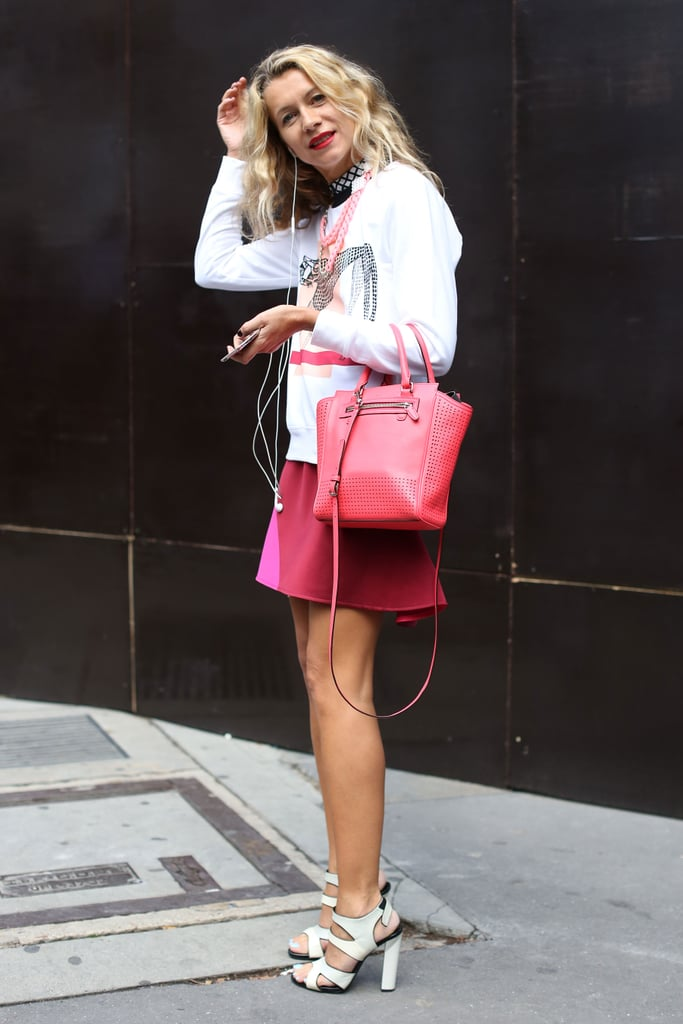 Pops of pink made this look totally girlie, but awesome footwear gave it contemporary edge.