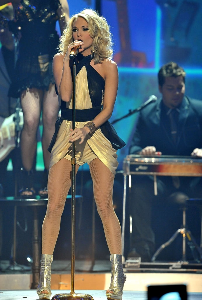Though this ravishing retro hot pants look is actually from Carrie's 2009 American Music Awards performance, we loved it so much we couldn't exclude it for a minor technicality.