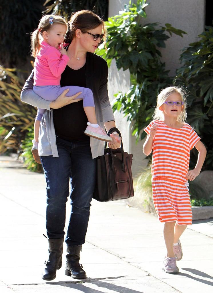 Jennifer Garner took Seraphina Affleck and Violet Affleck out for a sunny stroll in December 2011.