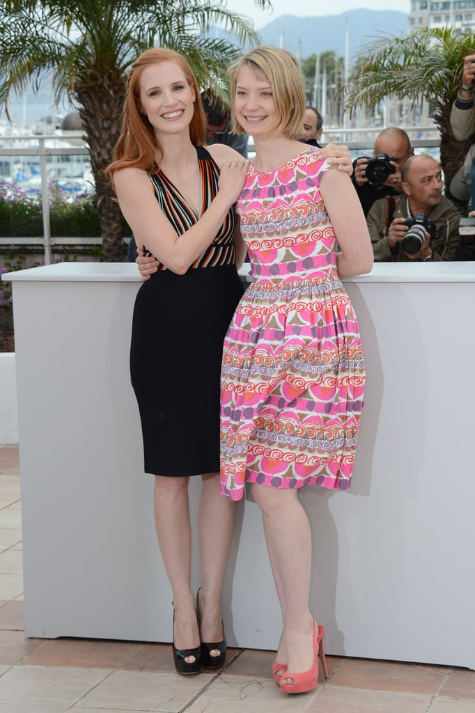 Jessica Chastain and Mia Wasikowska posed prettily at the Lawless photocall.