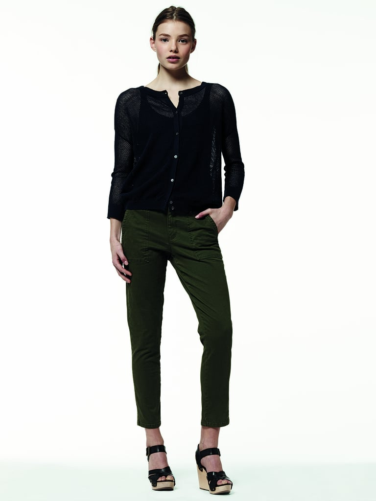 Dark green cropped trousers provide a muted twist on Summer's usual brighter-than-bright fare.