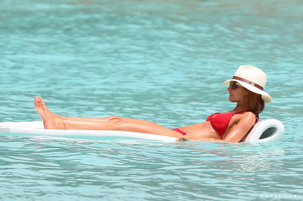 In April, Nicole Richie floated in the water during a beach trip to St. Barths.