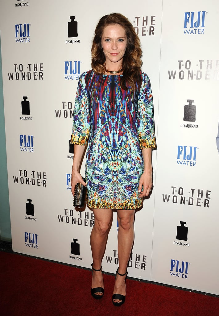 Katie Aselton wore a printed frock.