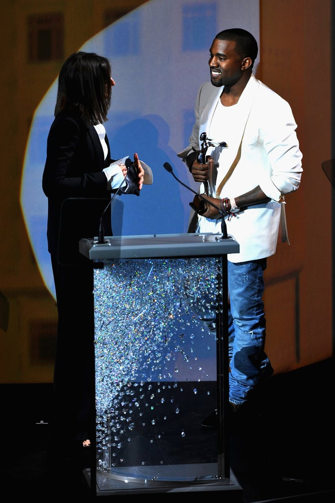 """Kanye West, who famously wore Celine to perform at Coachella in April, said upon presenting Phoebe Philo with her International Award: """"Phoebe Philo is one of the elite special forces in fashion."""" Then, he confessed: """"I happen  to be the biggest fan of everyone in this room. Those times I  go to  Style.com and I click, and those times I don't get into the shows,   there's no show that I would like to click more than the Celine show."""""""