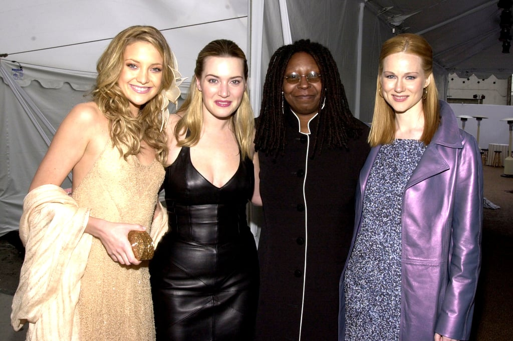 Kate Hudson and Kate Winslet posed with Whoopi Goldberg and Laura Linney in 2001.