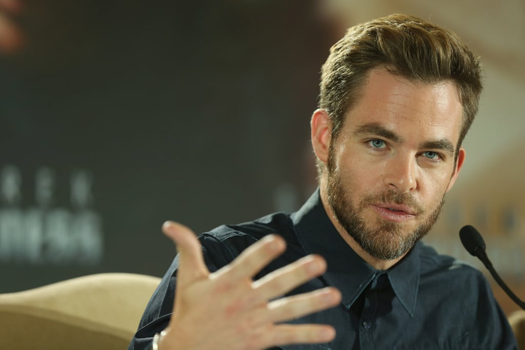 Chris Pine answered questions at a press conference for Star Trek Into the Darkness in Berlin.