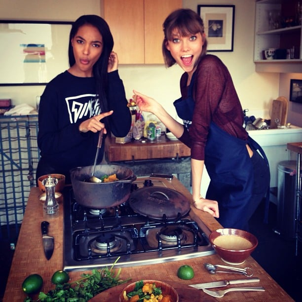 """It was a """"#Jourlie kitchen takeover!"""" when these two got busy on the stove."""