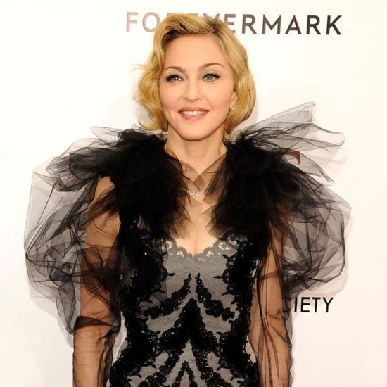 Madonna in a Black Marchesa Dress Pictures
