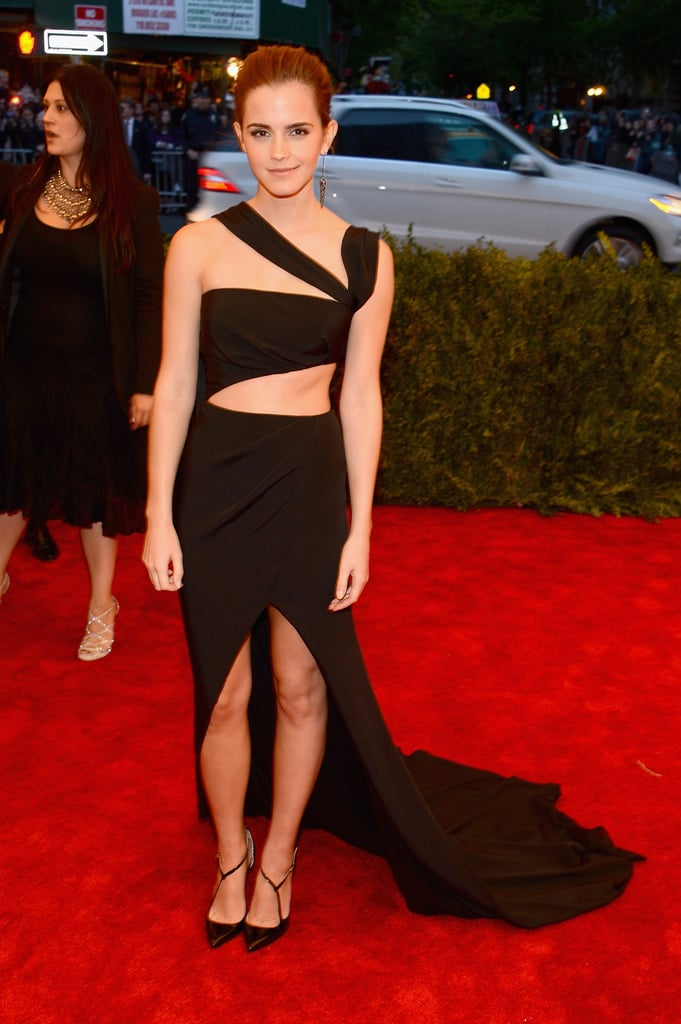 Emma Watson wasn't afraid to show some skin in her black cut-out Prabal Gurung gown.