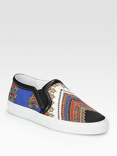 Givenchy Canvas Print & Leather Slip On Sneakers