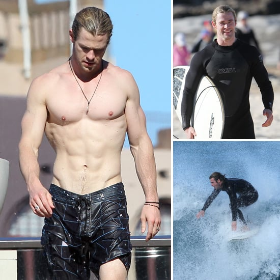 Chris Hemsworth Is All Smiles During a Surf Session at Maroubra Beach, Then Goes Shirtless at His Hotel Pool