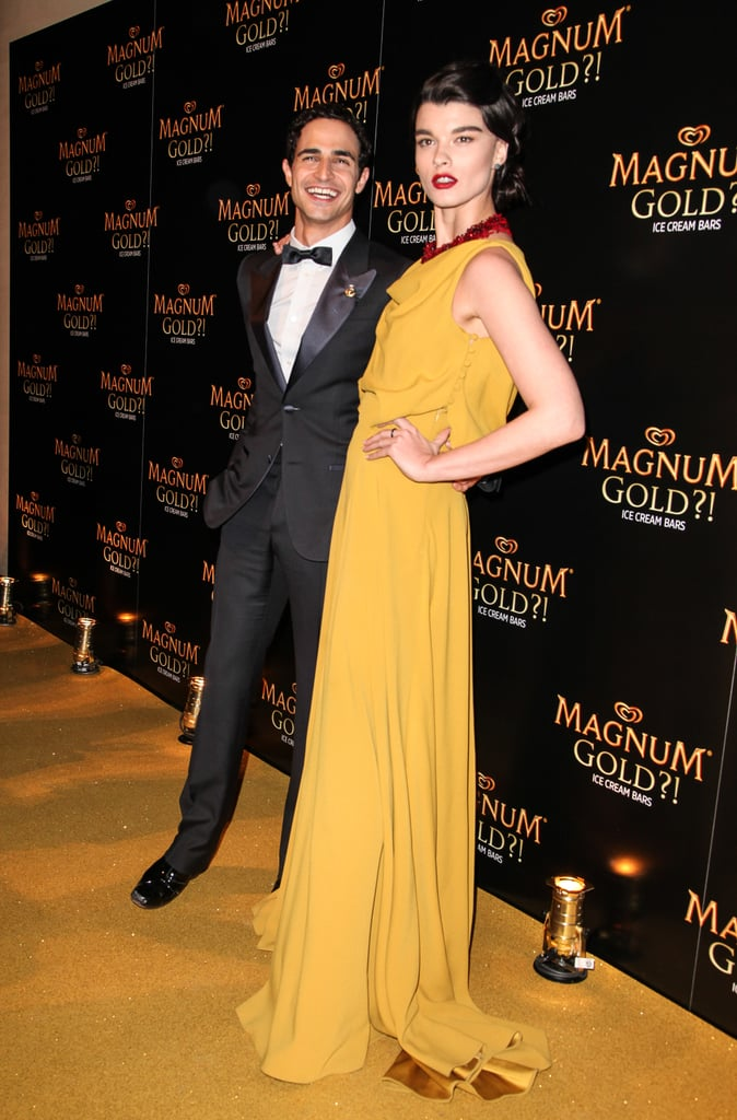 Zac Posen shared a laugh with model Crystal Renn.
