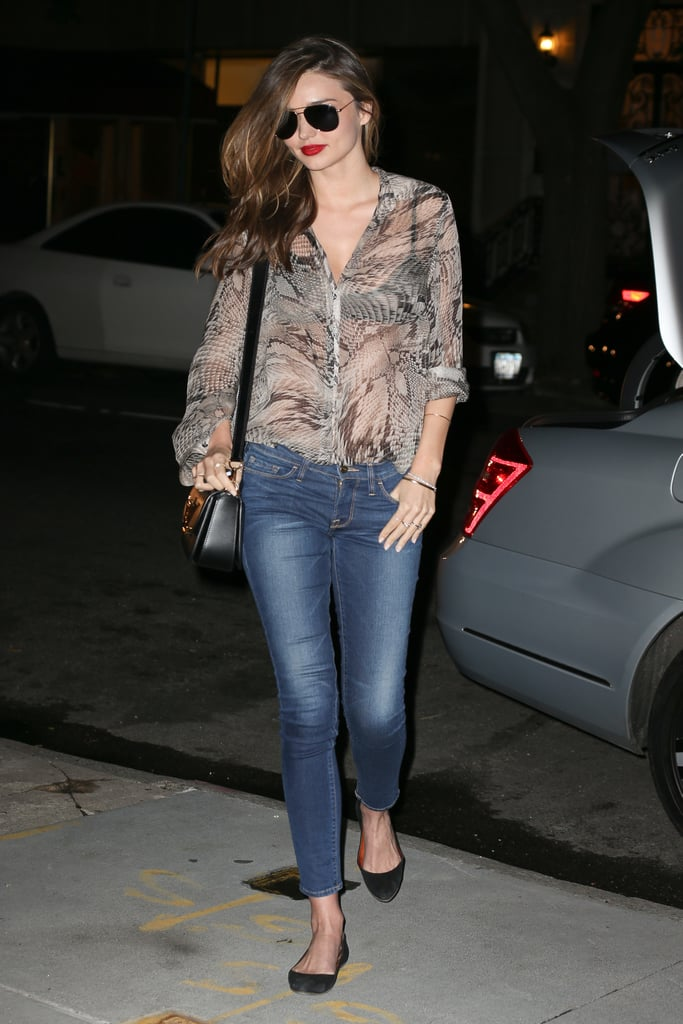 A black Louis Vuitton bag and ballet flats were all the accessories Miranda's off-duty outfit needed.