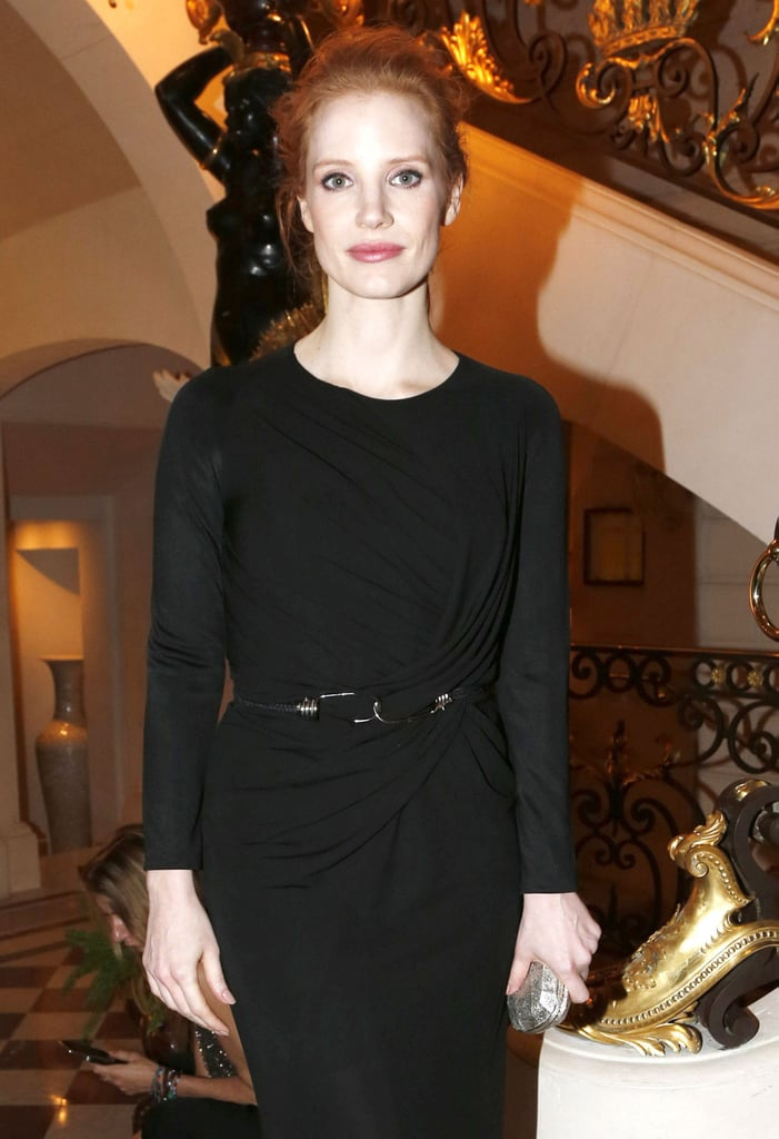 Jessica Chastain paired her black, floor-length dress with a black belt on Tuesday night.