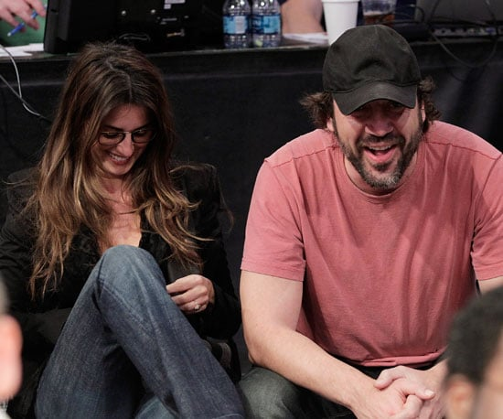 Slide Photo of Penelope Cruz and Javier Bardem at A Lakers Game