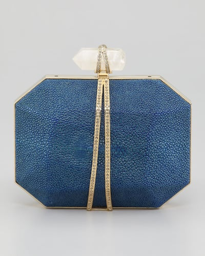 Marchesa Iris Stingray Minaudiere, Blue