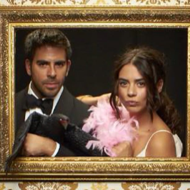 Eli Roth struck a pose with Lorenza Izzo at the InStyle party. Source: Instagram user realeliroth