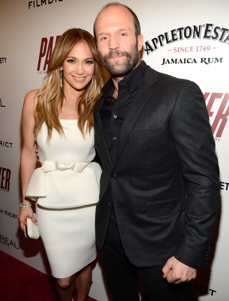 Jennifer Lopez smiled for photos with costar Jason Statham.