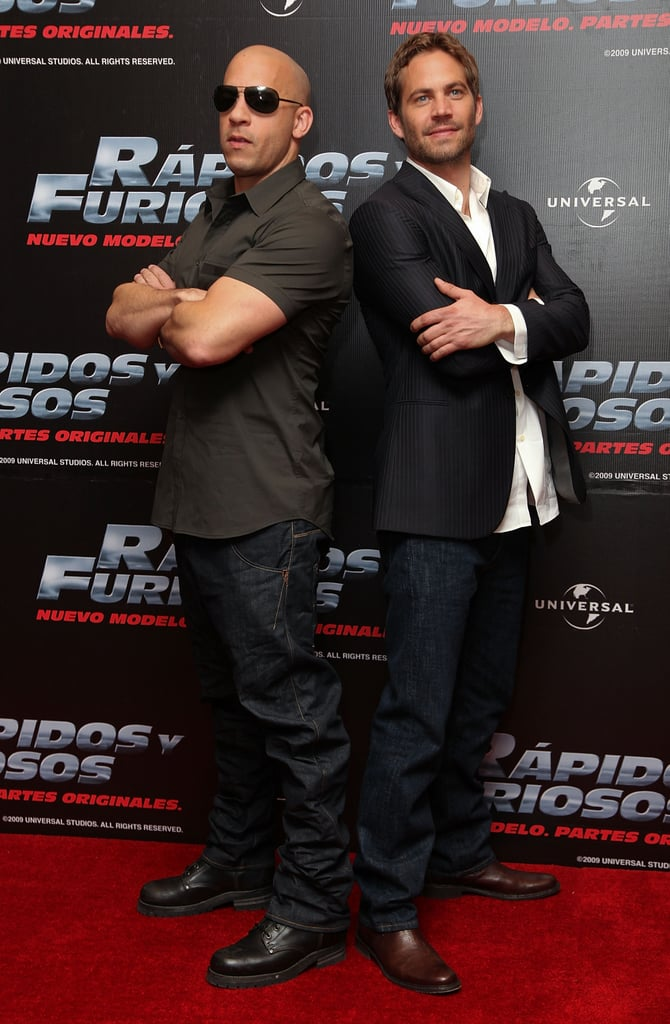 He and Vin Diesel posed back to back during a Fast & Furious press conference in Mexico City back in March 2009.