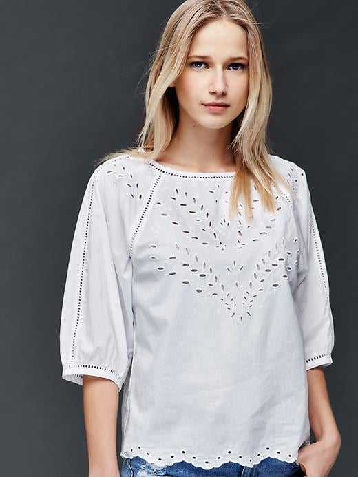 Gap Three-quarter sleeve eyelet top ($55)