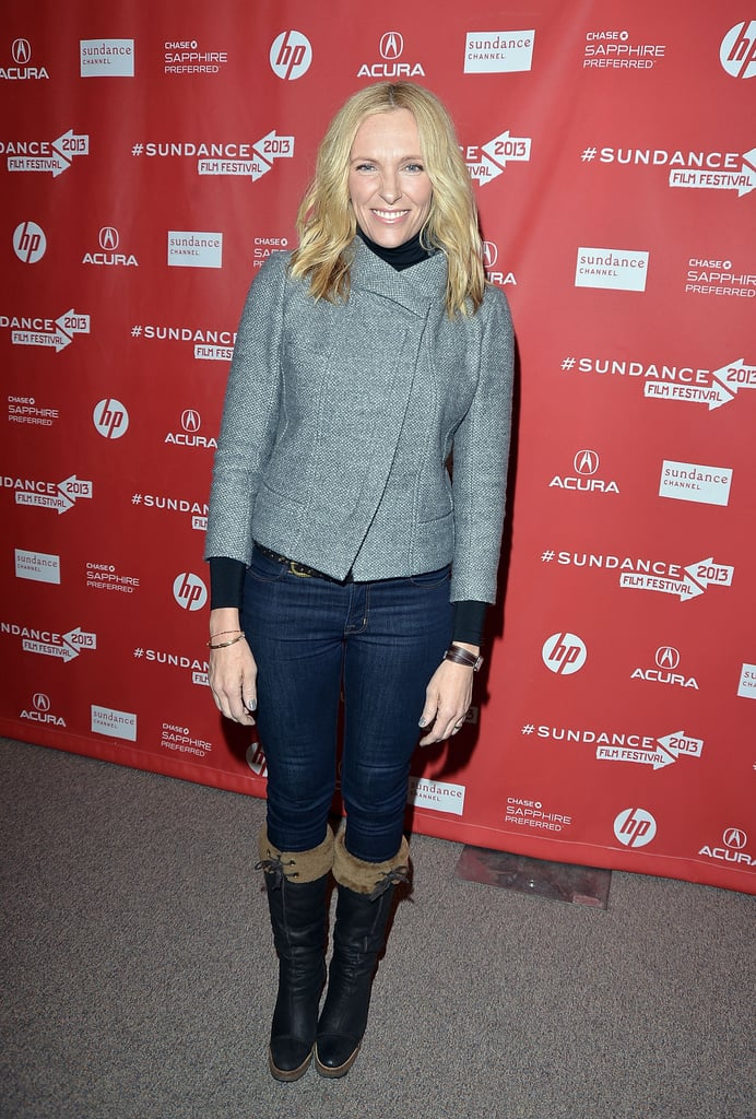 Toni Collette donned a structured gray jacket and fur-trimmed boots at Sundance.