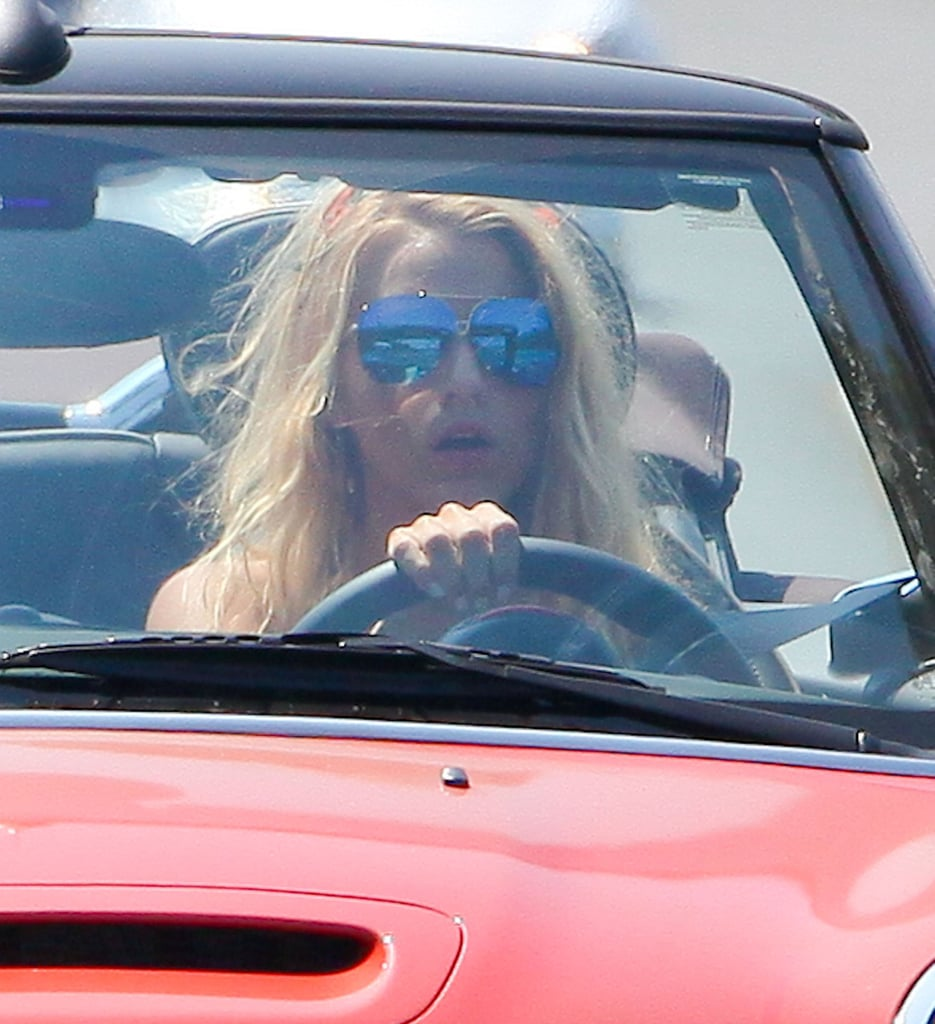 Blake hit the open road with her top down.