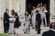 The wedding party left the church after Michael Jordan's ceremony.