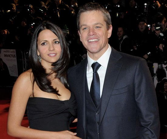 Slide Photo of Matt Damon and Luciana Barroso at UK Premiere of Invictus