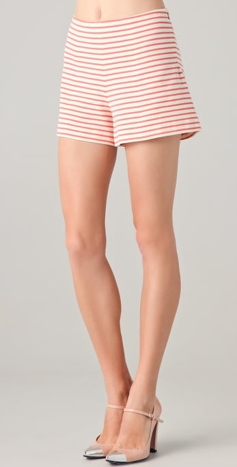 Add a floral-print tee for an easy print-on-print-inspired style.  Cacharel Coral Striped Shorts ($230)