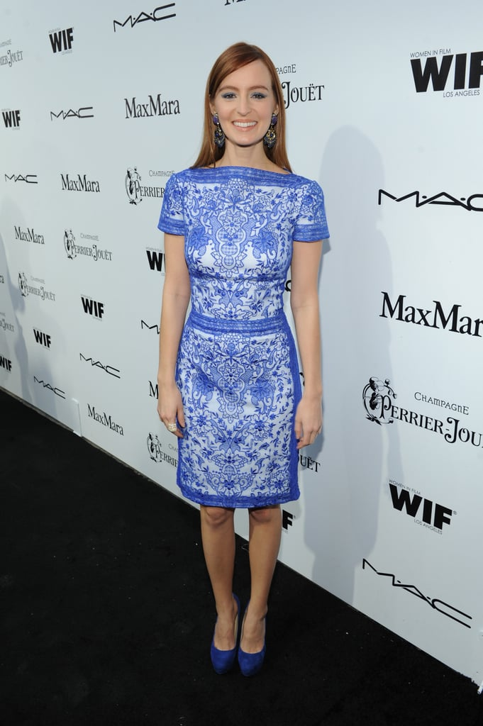 Ahna O'Reilly was feeling blue in a scarf-print Tadashi Shoji dress and coordinating suede Aldo pumps at the Women in Film Pre-Oscar party.