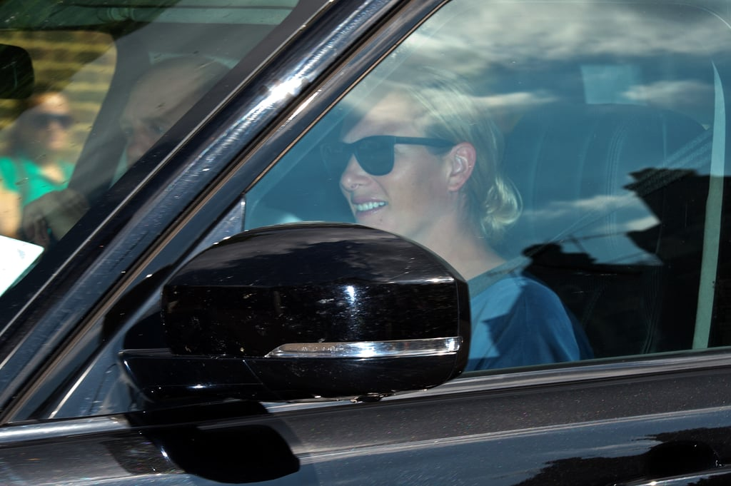 Zara Phillips drove into the party with her husband, Mike Tindall.