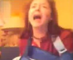Lady Hears Rick Astley and Screams