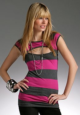 Justsweet by JLo: Striped Peekaboo Top W/ Cap Sleeves