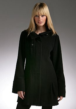 Justsweet by JLo: Wool Coat W/ Hidden Placket/funnel Neck