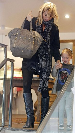 Kate Moss and daughter Lila Grace out shopping.