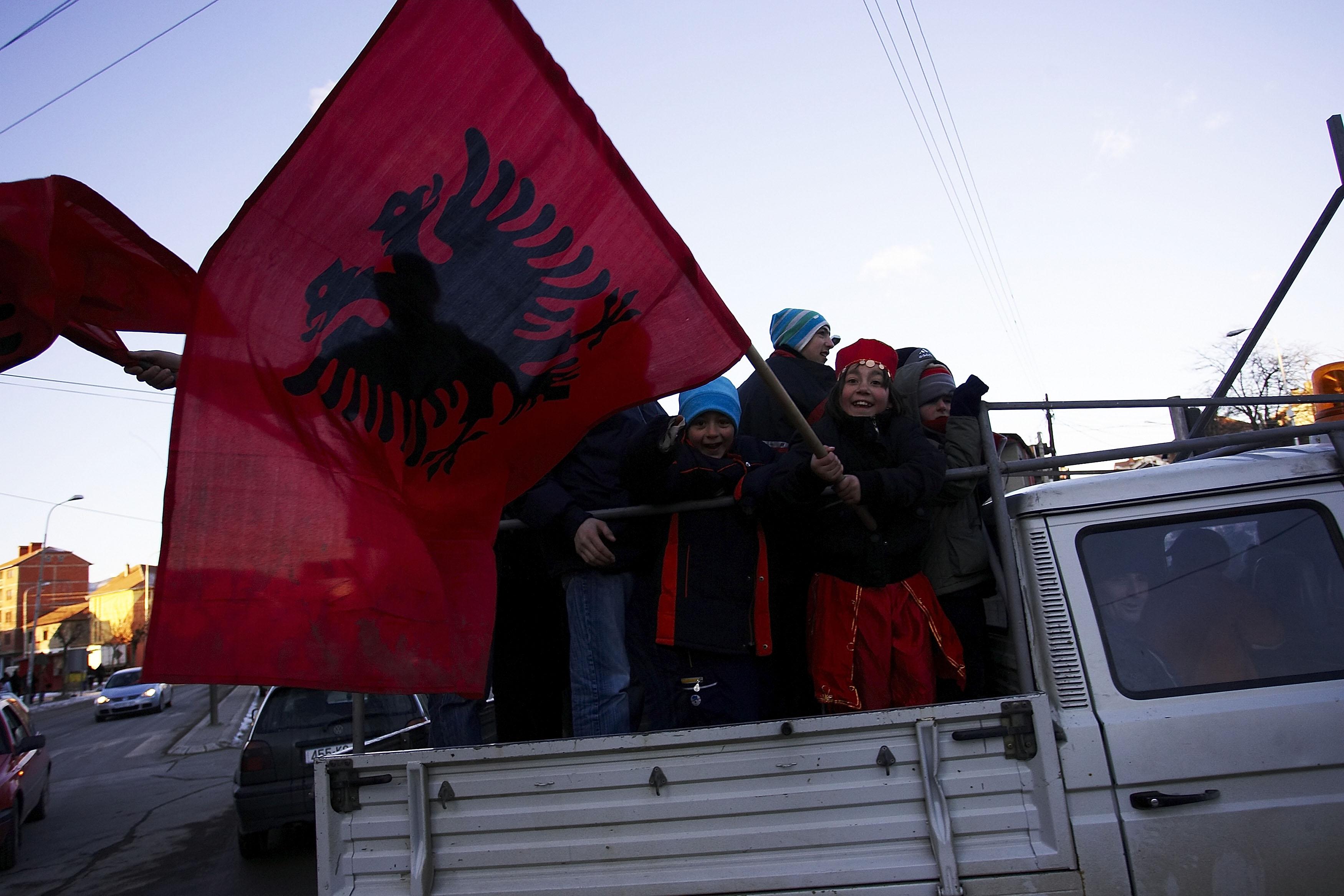 Kosovo Albanians celebrate.